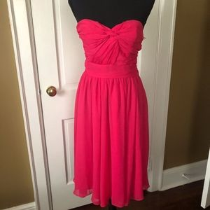 Bright Pink Strapless Dress with Draped Front  NWT